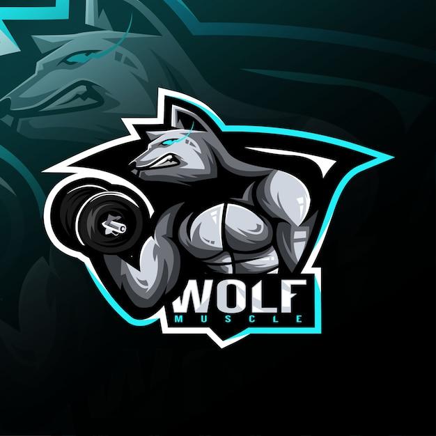 Logo E-sport Maskotka Wolf Fitness Premium Wektorów
