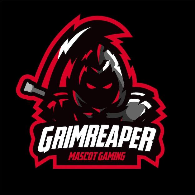 Logo E-sportowe Dark Grim Reaper Premium Wektorów