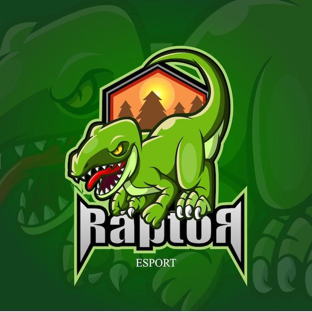 Logo e-sportowe maskotka raptor. Premium Wektorów