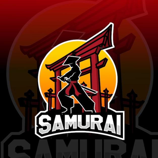 Logo E-sportowe Maskotka Samuraj Premium Wektorów