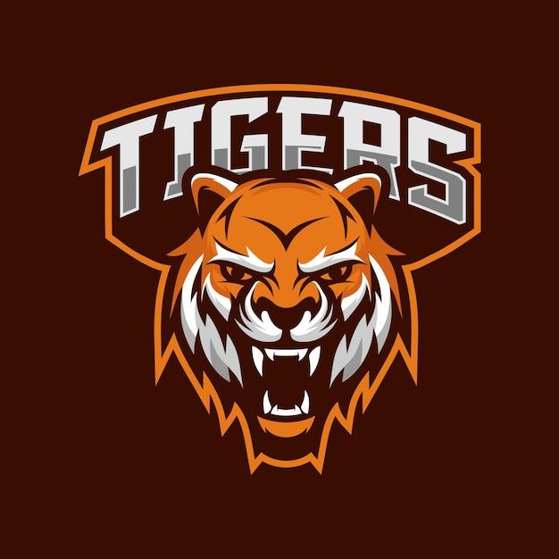 Logo E-sportowe Maskotka Tygrysy Premium Wektorów