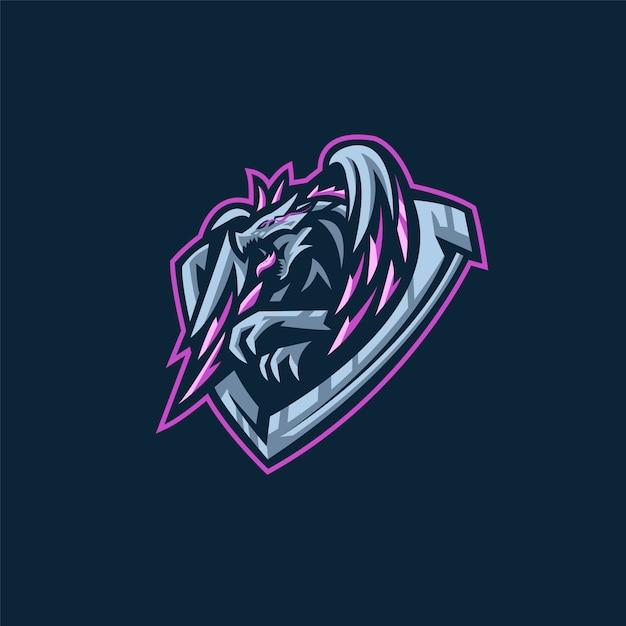 Logo e-sportowej drużyny ze smokiem Premium Wektorów