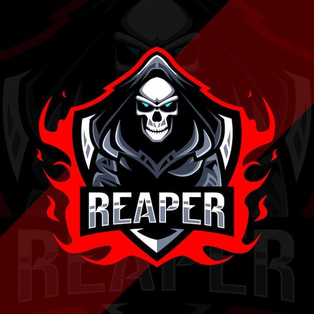 Logo E-sportowej Maskotki Reaper Premium Wektorów