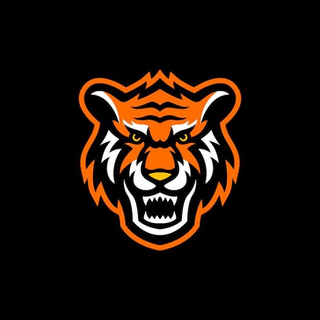 Logo E-sportowej Maskotki Z Głową Tygrysa Premium Wektorów