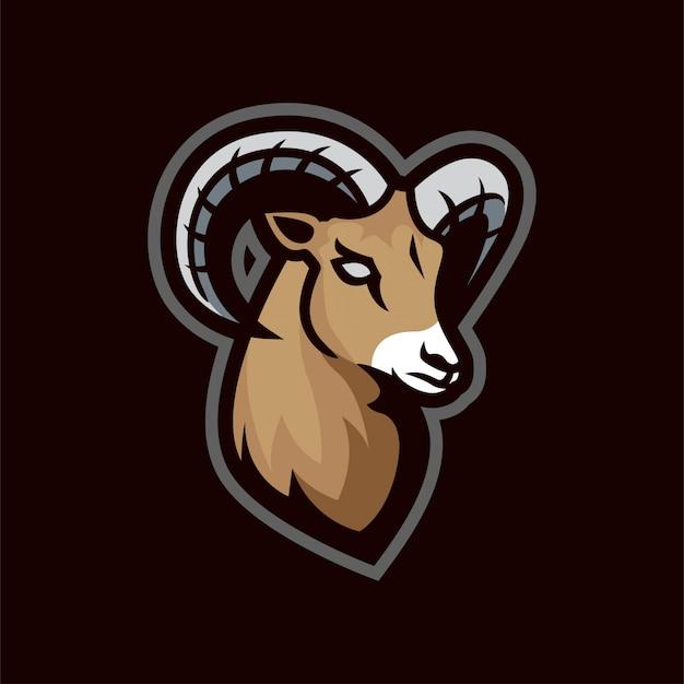 Logo E-sportowej Maskotki Z Owczej Kozy Premium Wektorów