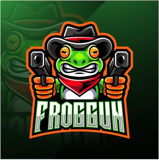 Logo E-sportu Frog Gun Premium Wektorów