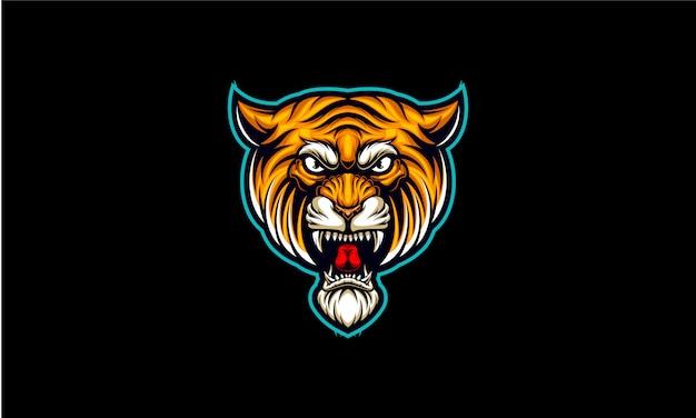 Logo E-sportu Z Głową Tygrysa Premium Wektorów