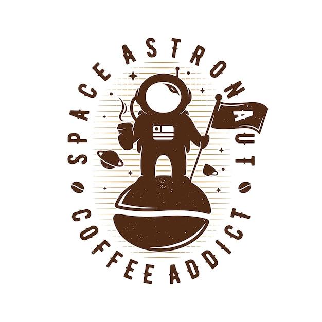 Logo Emblemat Astronautów Kawy Premium Wektorów
