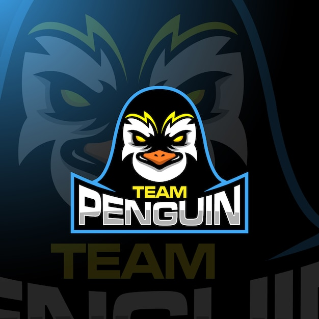 Logo Esport Do Gry Penguin Head Premium Wektorów