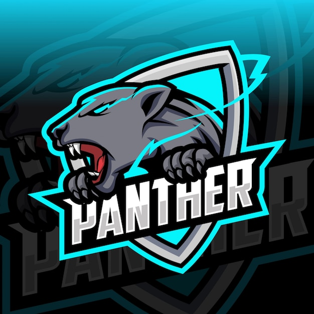 Logo Esport Maskotka Pantera Premium Wektorów