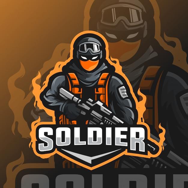 Logo Esport Maskotka żołnierza Premium Wektorów