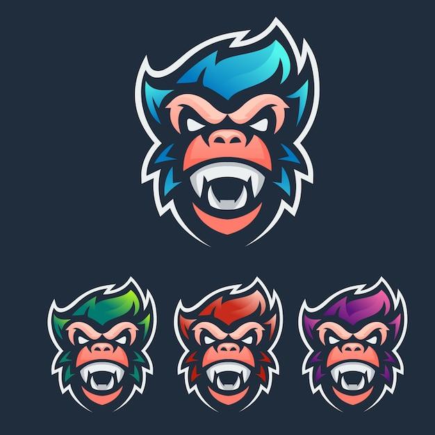 Logo esport maskotki małpy Premium Wektorów