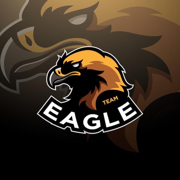 Logo Esport Z Głową Orła Premium Wektorów