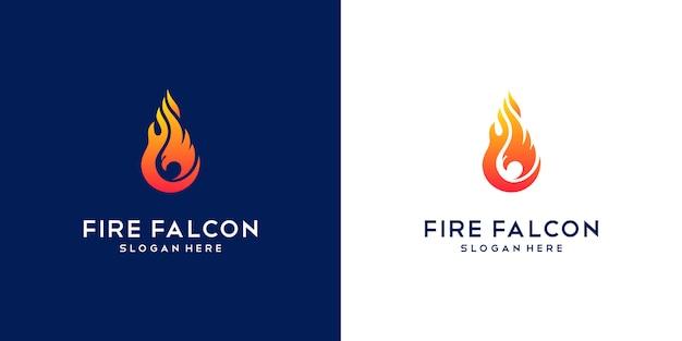 Logo Falcon Fire. Minimalna Płaska Firma Phoenix, Eagle I Hawk. Premium Wektorów