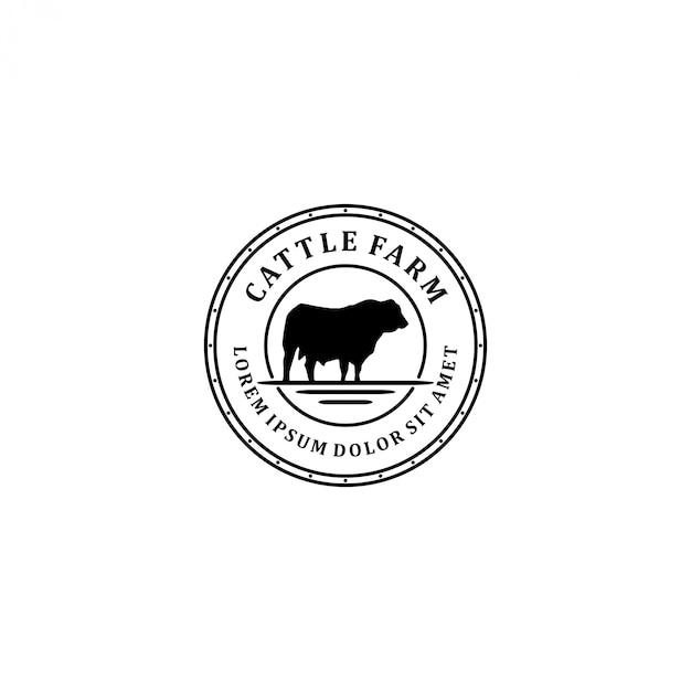 Logo farmy bydła, farma krów angus Premium Wektorów