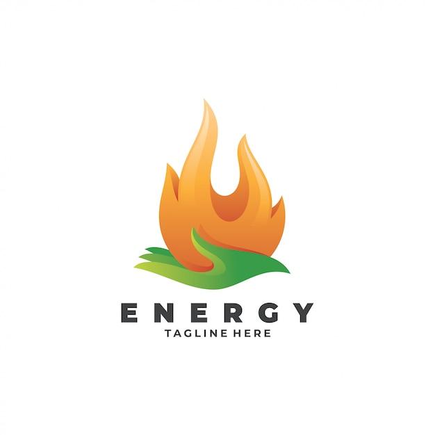 Logo Fire Flame And Hand Energy Care Premium Wektorów