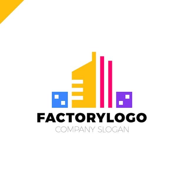 Logo Firmy Budowlanej Fabryki Lub Manifacture Wektor Premium