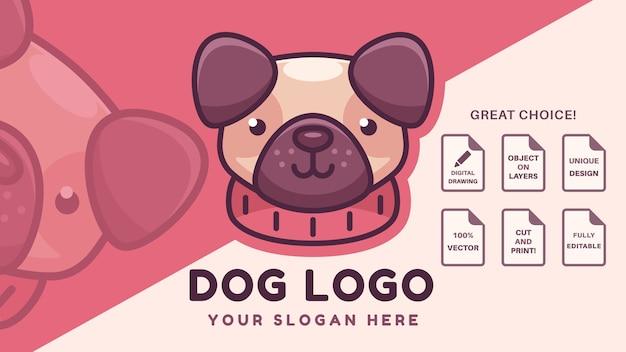 Logo Firmy Słodkie Mops Pies Darmowych Wektorów