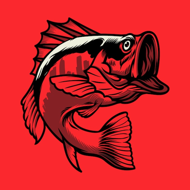 Logo fish city Premium Wektorów