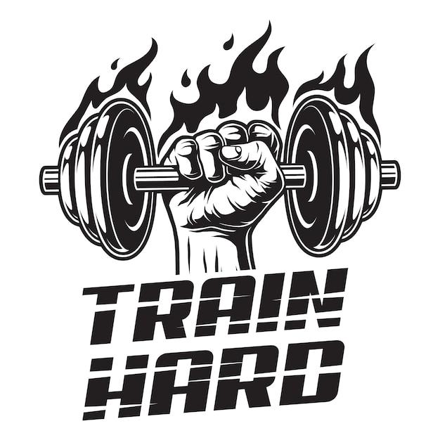 Logo Fitness Vintage Z Silnym Mężczyzną Ręki Trzymającej Ognisty Hantle Premium Wektorów