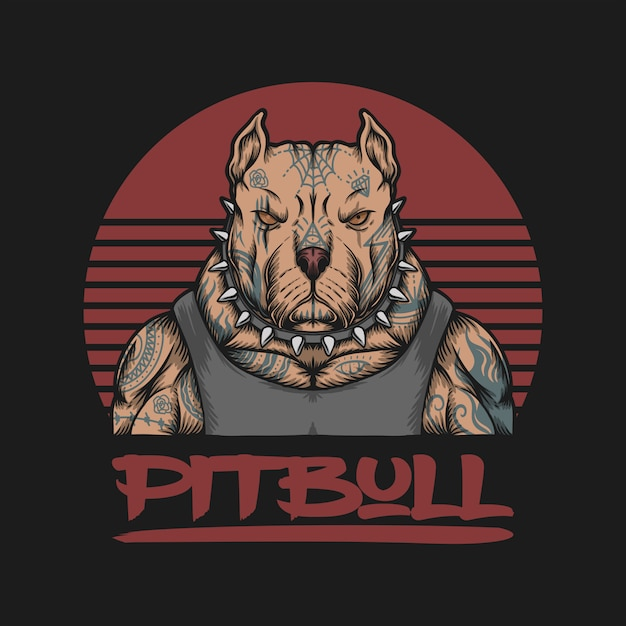 Logo gangstera pitbull Premium Wektorów