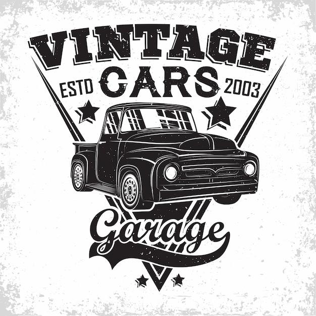 Logo Garażu Hot Rod, Emblemat Organizacji Naprawy I Serwisu Samochodów Mięśniowych, Znaczki Druku Garażu Samochodów Retro, Emblemat Typografii Hot Rod, Premium Wektorów