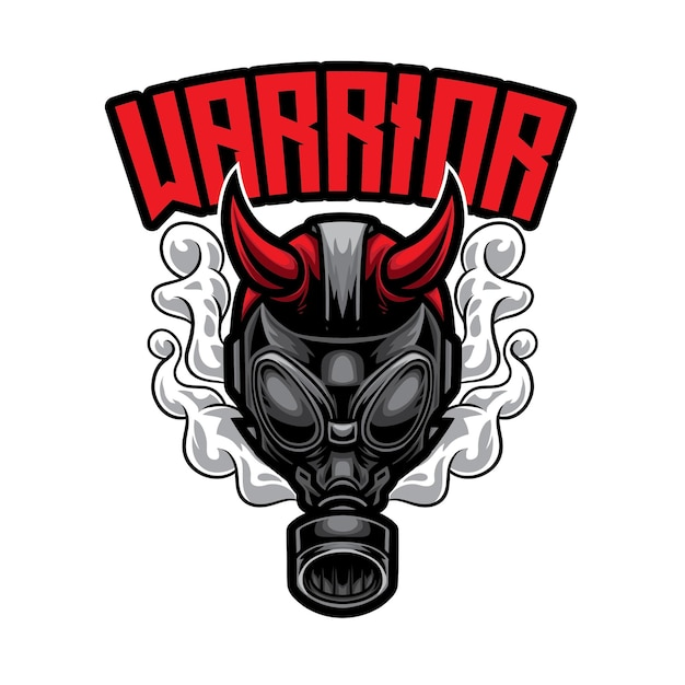 Logo Gas Man Warrior Esport Premium Wektorów