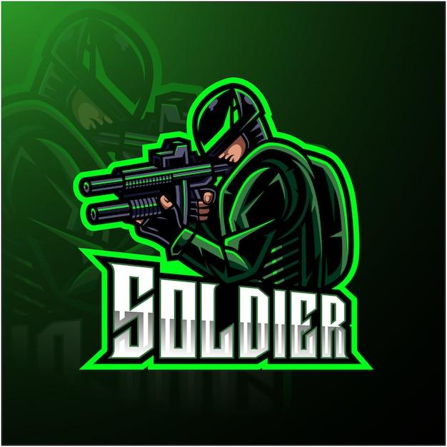 Logo gier e-sportowych maskotka soldier Premium Wektorów