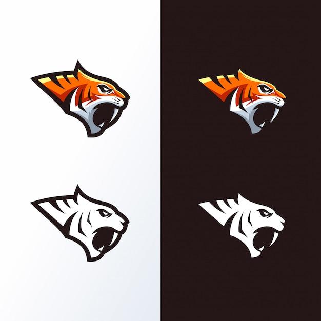 Logo Głowy Tygrysa Gotowe Do Użycia Premium Wektorów