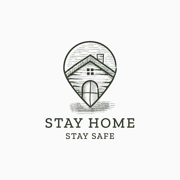 Logo Grawerowane Ręcznie Rysunek Mapy Domu I Pinezki Premium Wektorów