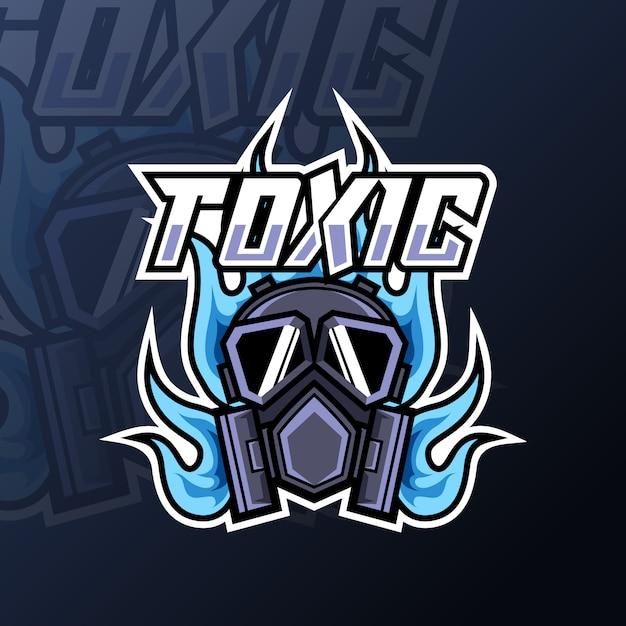 Logo Gry Maskotka Ognia Toksyczna Maska Dla Drużyny Klubowej Premium Wektorów