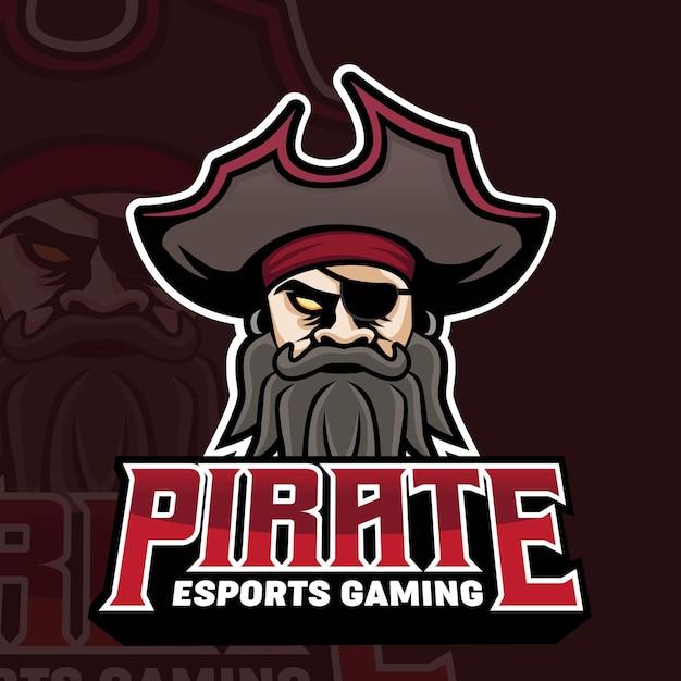 Logo Gry Maskotka Piratów Premium Wektorów
