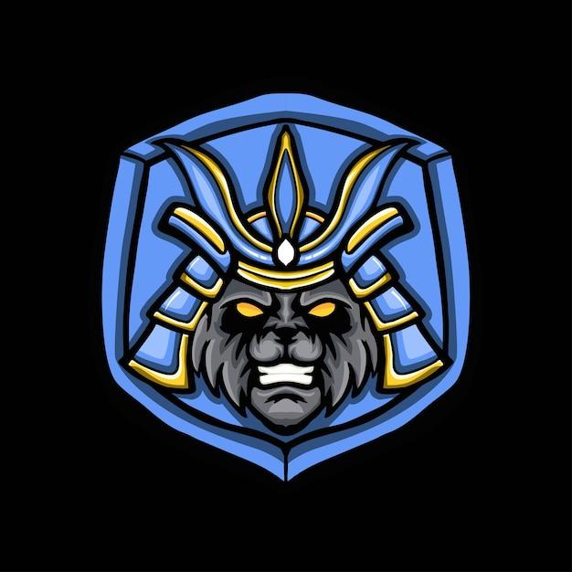 Logo Gry Maskotka Samuraj Panda Premium Wektorów