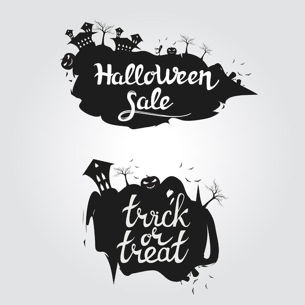 Logo halloween sprzedaż i cukierek albo psikus Premium Wektorów