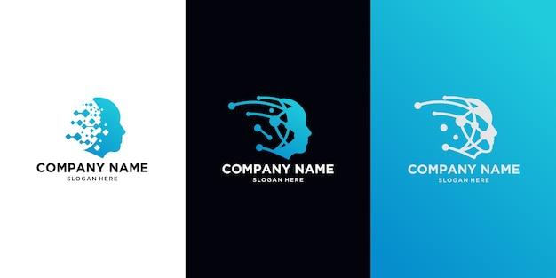 Logo Head Tech, Szablon Logo Technologii Robotycznej Projektuje Ilustrację Premium Wektorów