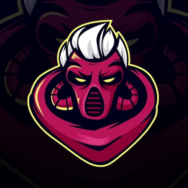 Logo I Maskotka Mordern Demon Esport Premium Wektorów