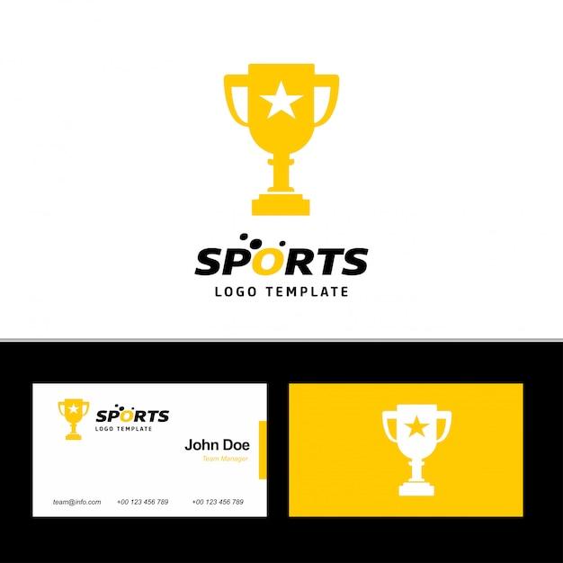 Logo i wizytówka sports cup Premium Wektorów