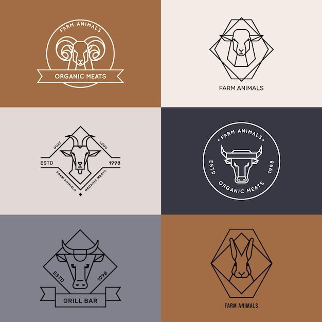 Logo Ikon Zwierząt Gospodarskich W Stylu Liniowym Premium Wektorów