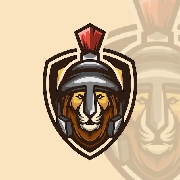 Logo Ikona Wojownik Lew Esports Premium Wektorów