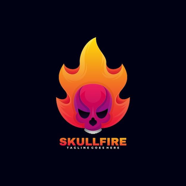 Logo Ilustracja Czaszka Ogień Gradientu Kolorowy Styl. Premium Wektorów