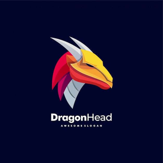 Logo Ilustracja Dragon Head Kolorowy Styl. Premium Wektorów
