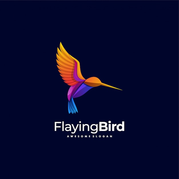 Logo Ilustracja Flaying Bird Gradient Kolorowy Styl. Premium Wektorów