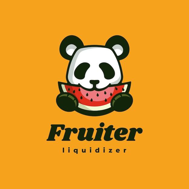 Logo Ilustracja Panda Fruit Prosty Styl Maskotki. Premium Wektorów