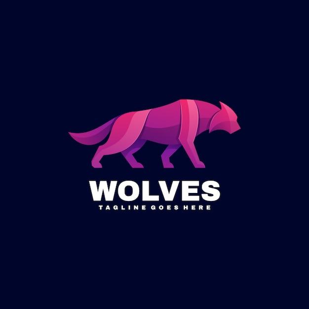 Logo Ilustracja Wilki Gradient Kolorowy Styl. Premium Wektorów