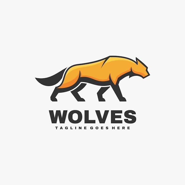 Logo Ilustracja Wilki Prosty Styl Maskotki Premium Wektorów