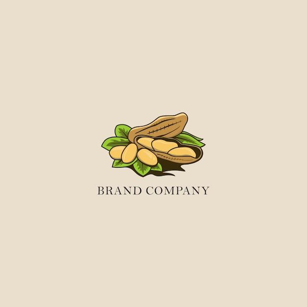 Logo ilustracji orzechów Premium Wektorów
