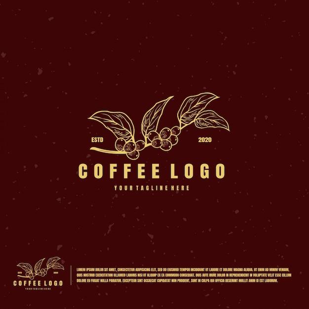 Logo Ilustracji Owoców Kawy Premium Wektorów