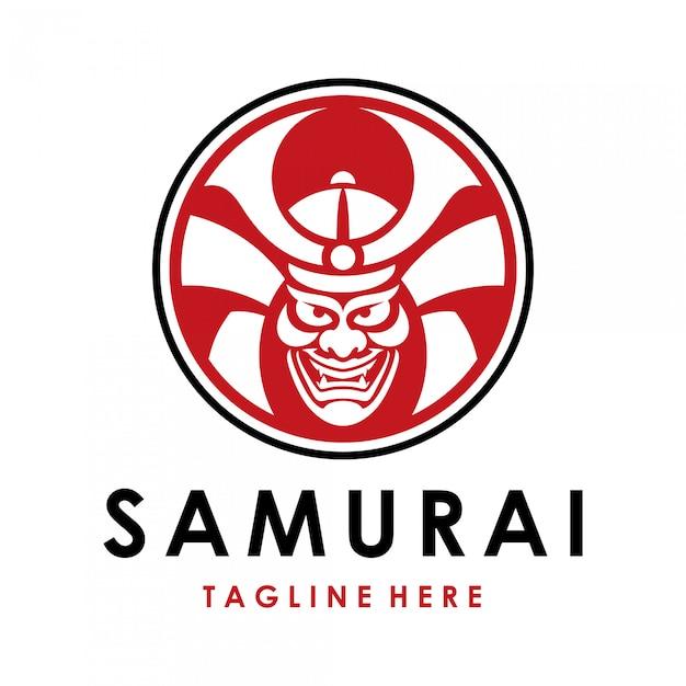 Logo Japońskiego Samuraja Wojownika Premium Wektorów