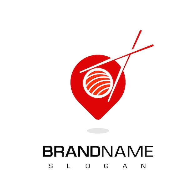Logo japońskiej restauracji, ikona miejsce sushi ze wskaźnikiem i symbol sushi Premium Wektorów