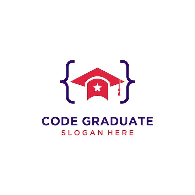 Logo kapelusz absolwent kod Premium Wektorów